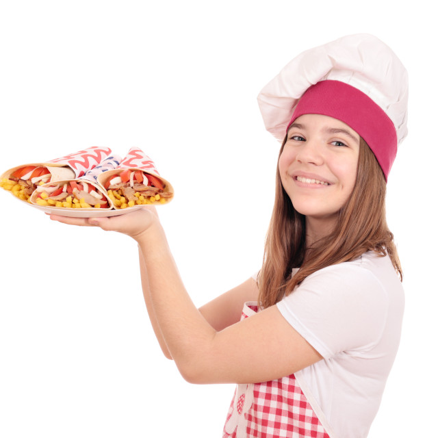 """happy girl cook with gyros pita fast food on plate"" stock image"