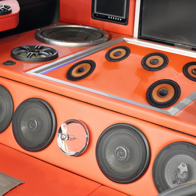 """custom car powerful stereo audio system"" stock image"