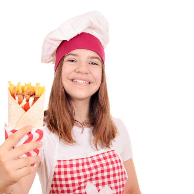 """happy girl cook with gyros pita"" stock image"