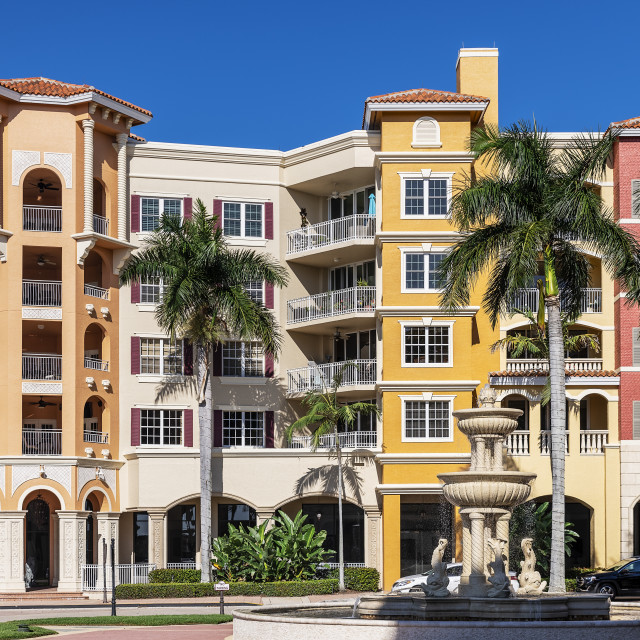 """Bayfront, shops and condominiums, Naples, Florida"" stock image"