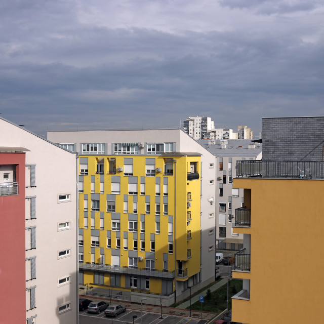 """colorful new buildings Belgrade cityscape Serbia"" stock image"