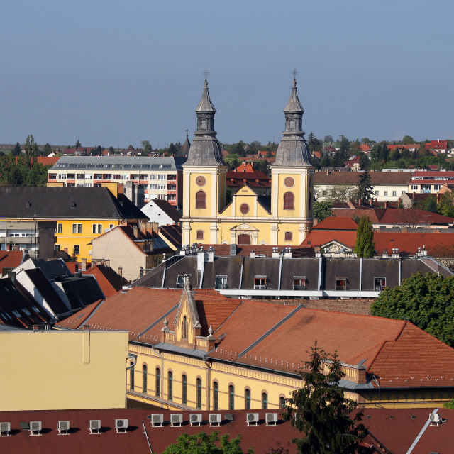 """""""Church and buidlings Eger cityscape Hungary"""" stock image"""