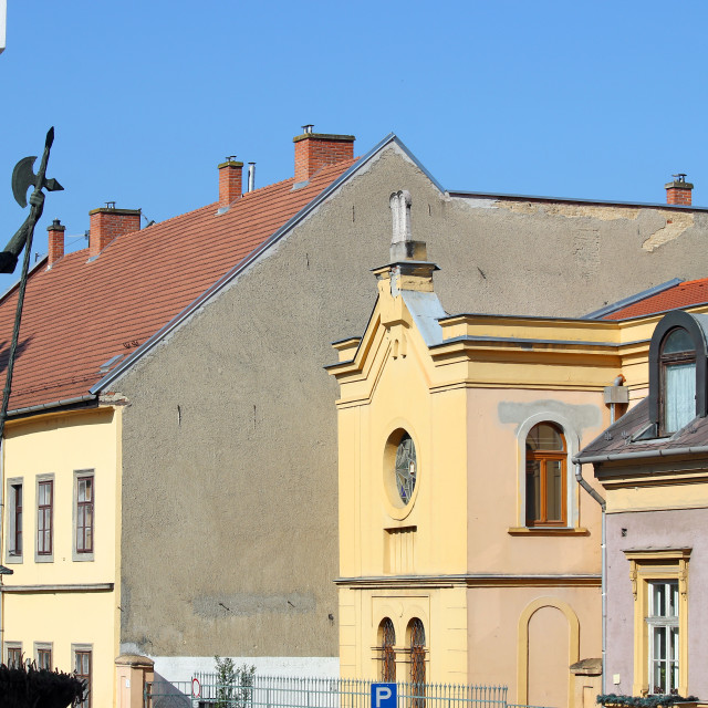 """""""old houses and knight sculpture street in Eger Hungary"""" stock image"""