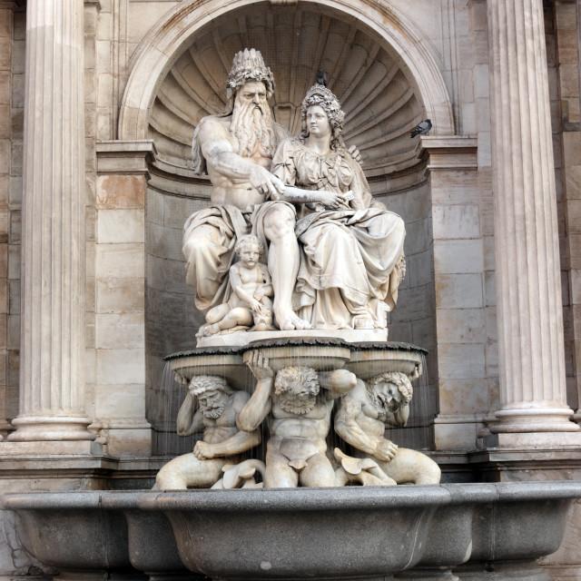 """Danubius fontain Albertina in Vienna Austria"" stock image"