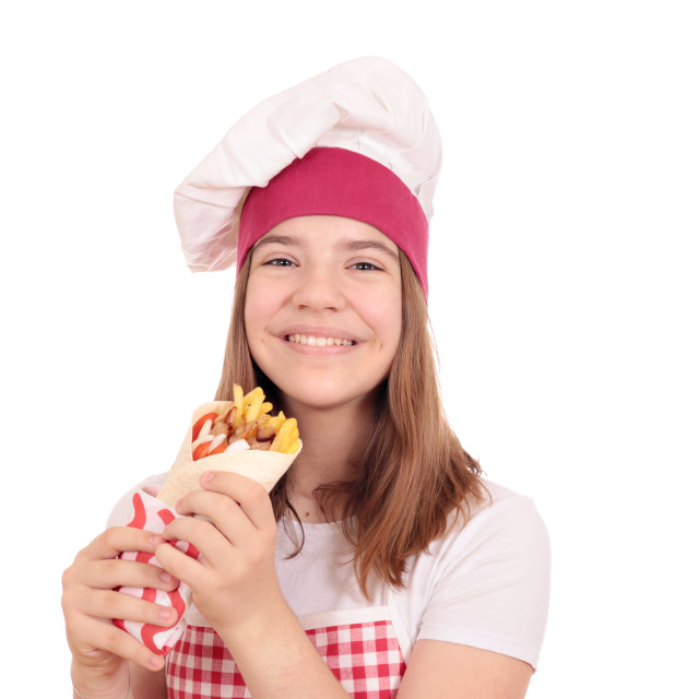 """girl cook with gyros pita fast food"" stock image"