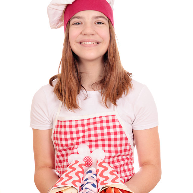 """""""happy girl cook with gyros on plate fast food"""" stock image"""