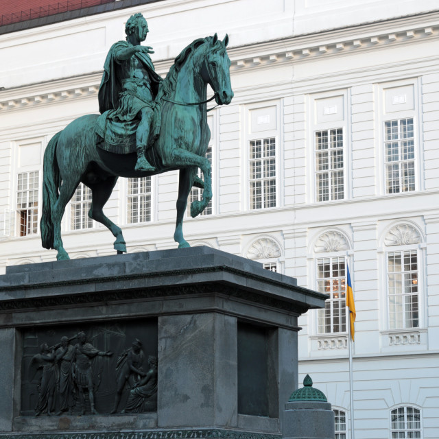 """Equestrian statue of Emperor Joseph II Josefsplatz in Vienna"" stock image"