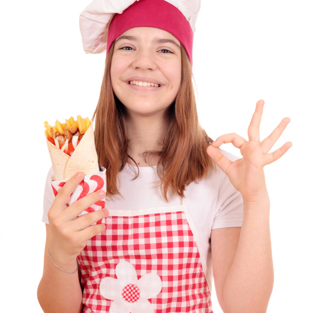 """""""happy girl cook with gyros fast food and ok hand sign"""" stock image"""