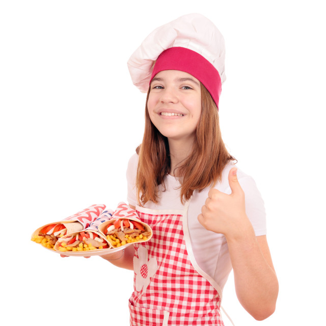 """""""happy girl cook with gyros fast food and thumb up"""" stock image"""