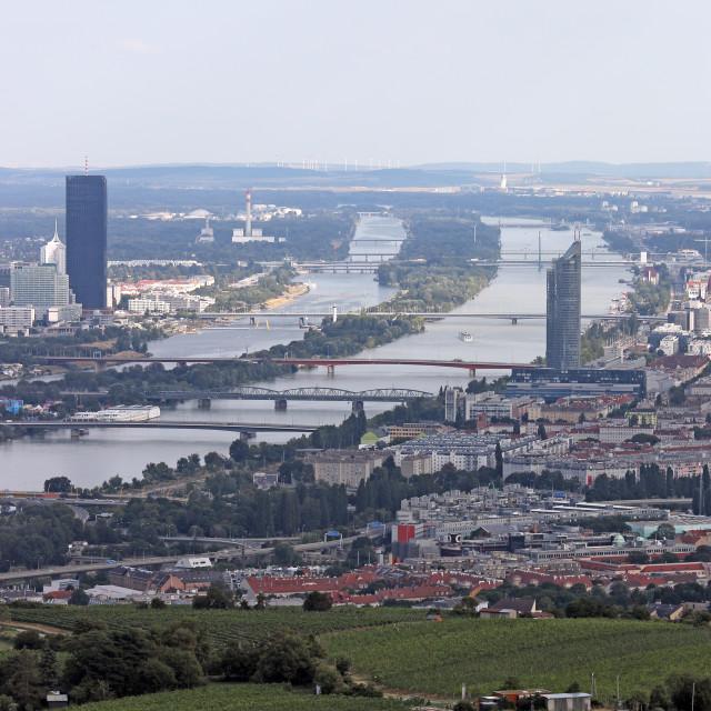 """""""bridges on the Danube river Vienna cityscape"""" stock image"""