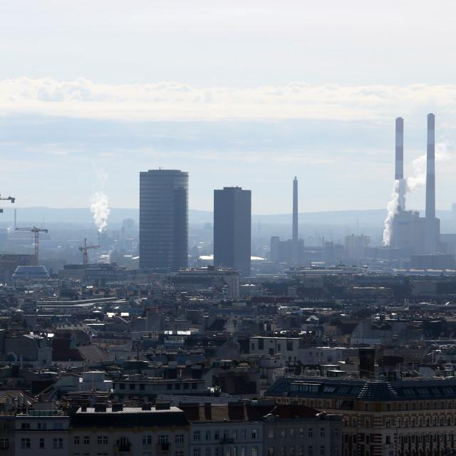 """White smoke clouds froma heating plant chimney Vienna Austria"" stock image"