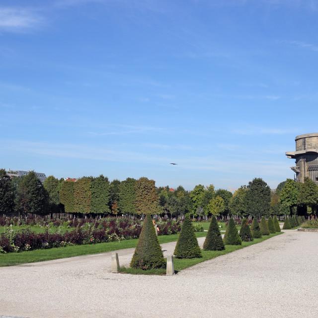 """Anti aircraft tower Flakturm in Augarten park Vienna Austria"" stock image"