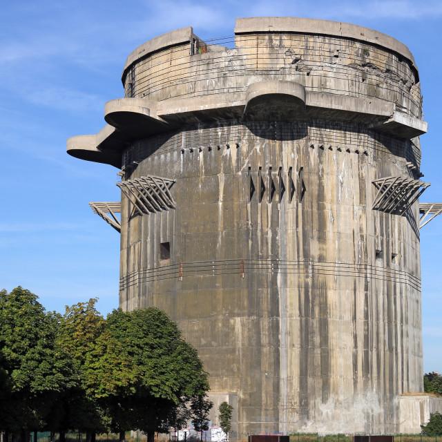 """Anti aircraft tower Flakturm in Augarten Vienna Austria"" stock image"
