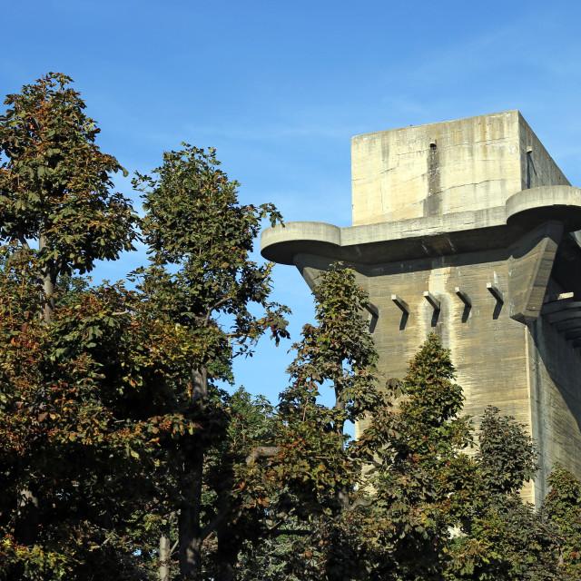 """Flakturm anti aircraft tower in Augarten Vienna Austria"" stock image"
