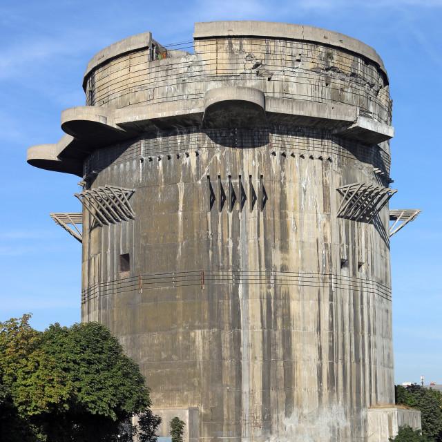 """Anti aircraft tower Flakturm in Augarten Vienna landmark Austria"" stock image"