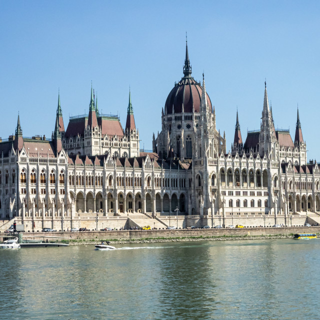 """""""Budapest Parliament on a Beautiful Day"""" stock image"""