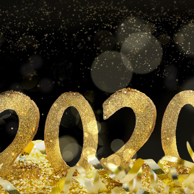 """""""golden figures 2020 on black background with bright blur lights"""" stock image"""
