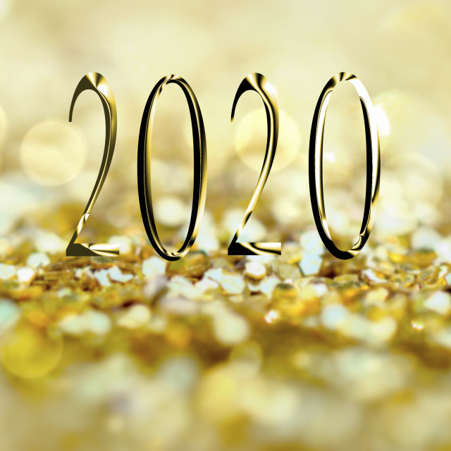 """""""greeting card 2020 on abstract golden glitter background"""" stock image"""