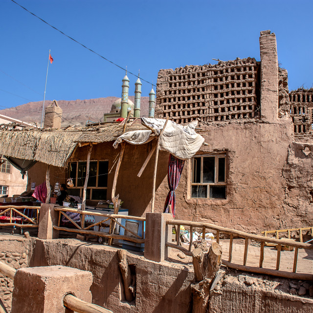"""A Village in the Flaming Mountains"" stock image"
