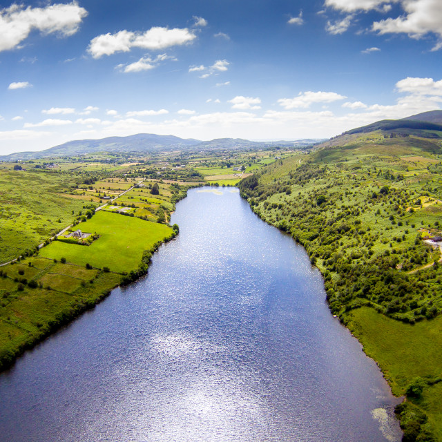 """Camlough Lake summers day aerial photograph"" stock image"