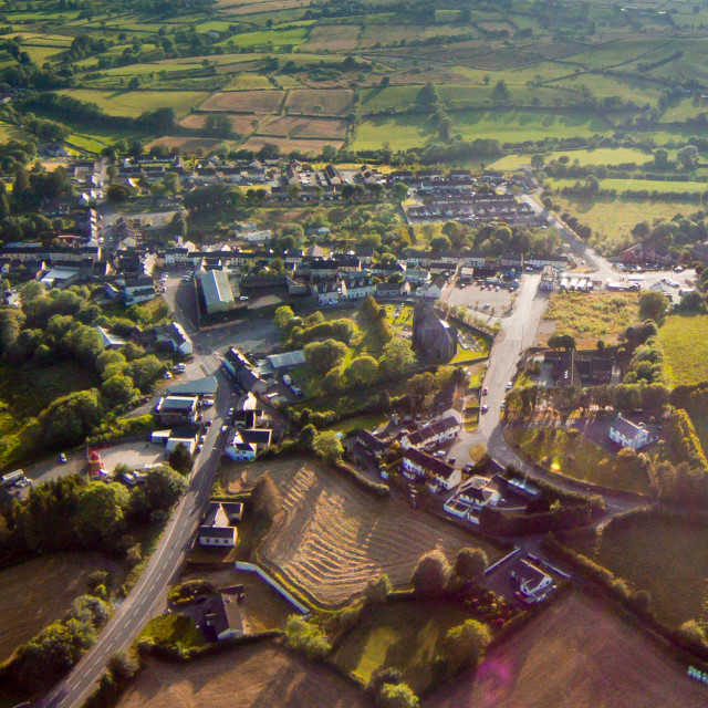 """Newtownhamilton village south armagh aerial photo"" stock image"