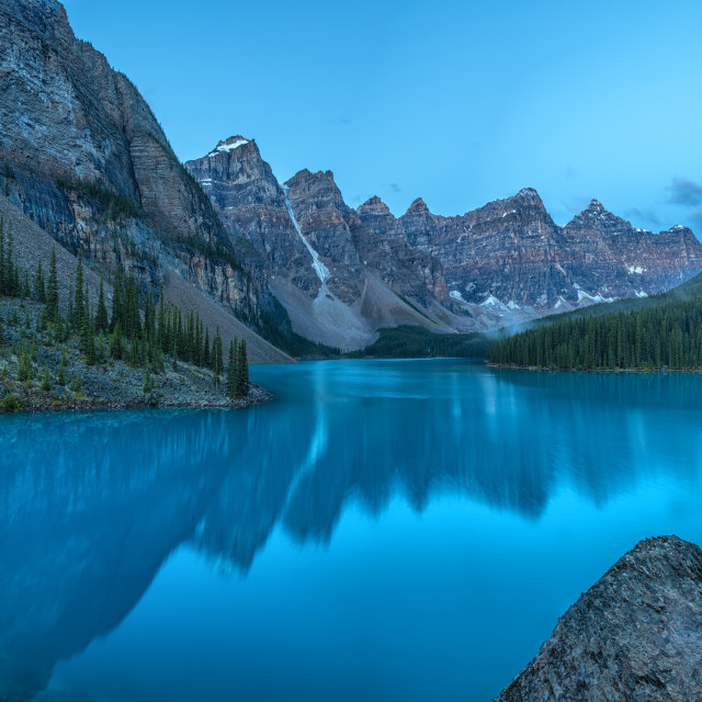 """Moraine Lake Morning Panorama"" stock image"