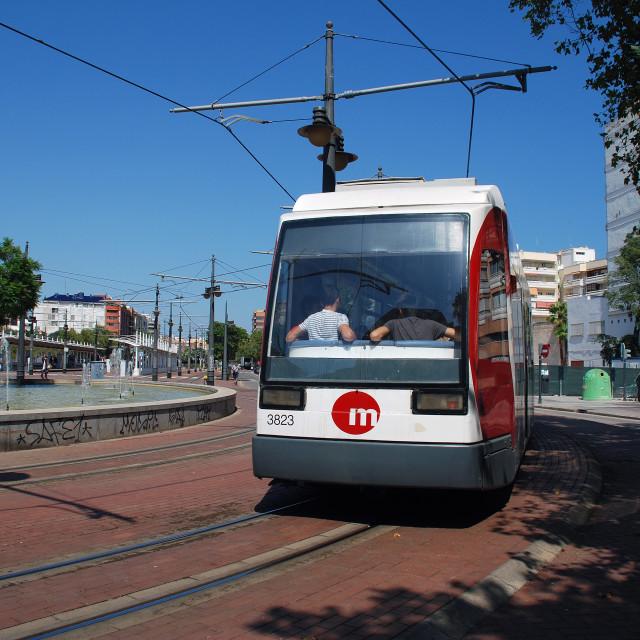 """Pont de Fusta tram, Valencia"" stock image"