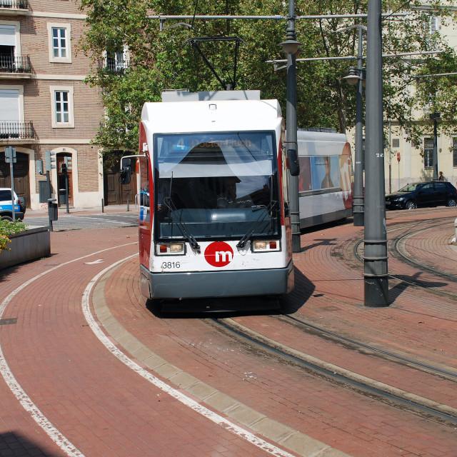 """""""Tram in Valencia"""" stock image"""