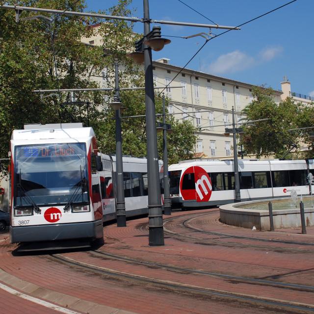 """Valencia tram, Spain"" stock image"