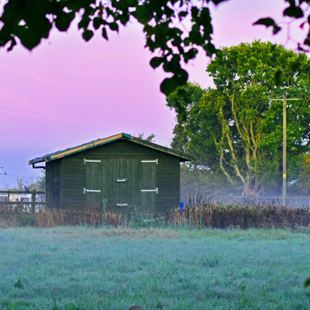 """A farmers shed framed by a tree"" stock image"