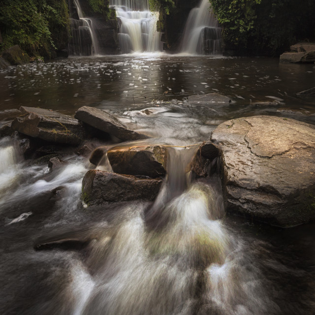 """""""Penllergare Valley Woods waterfall"""" stock image"""