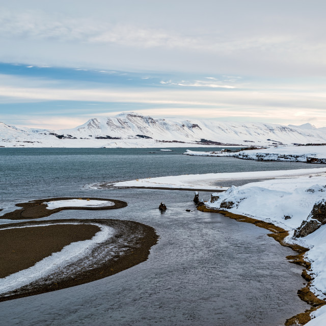 """""""View of the Hvalfjordur in winter, Iceland"""" stock image"""