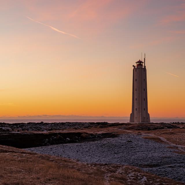 """""""Malarrif lighthouse at sunset, Iceland"""" stock image"""