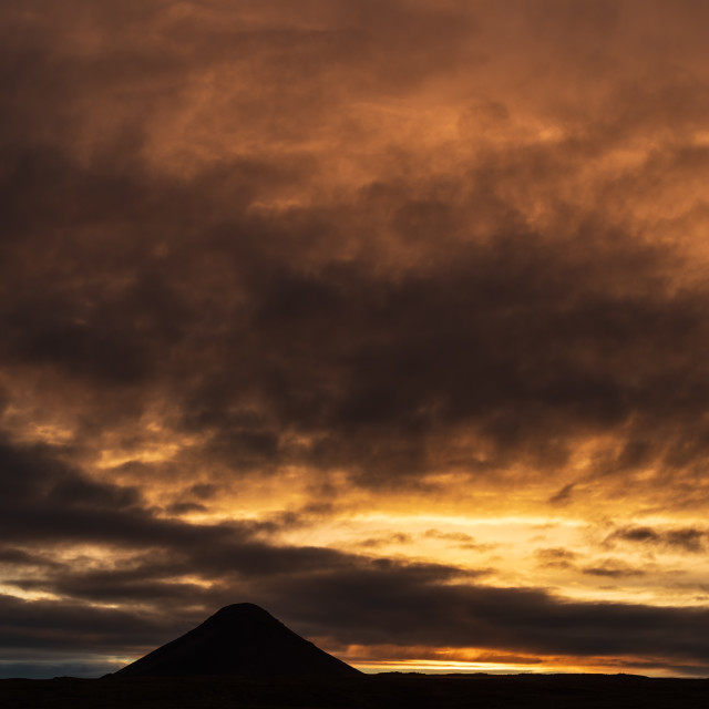 """Mount Keilir on sunset near Reykjavik, Iceland"" stock image"