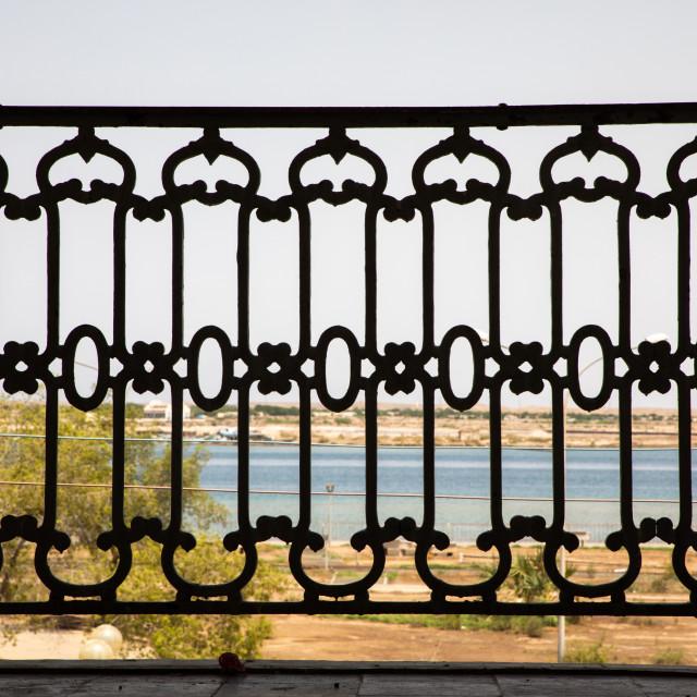 """Metal balcony from the italian colonial era, Northern Red Sea, Massawa, Eritrea"" stock image"