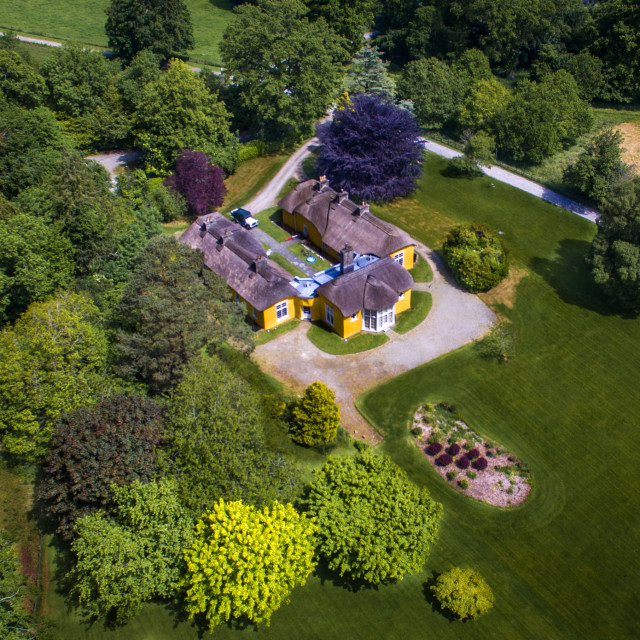 """aerial view of derrymore house Co armagh northern ireland"" stock image"