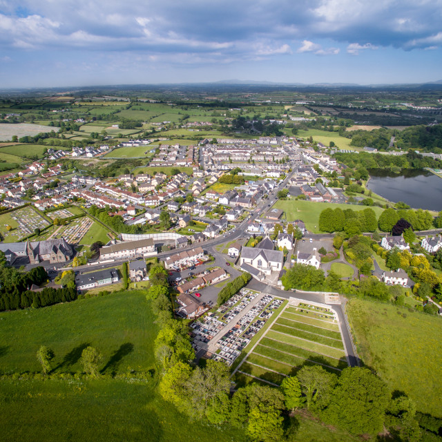 """aerial view across the fields of Co armagh northern ireland"" stock image"