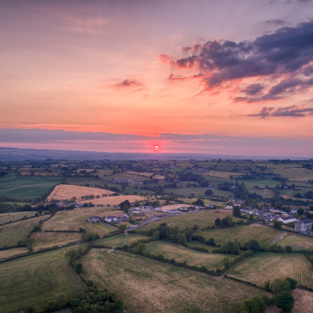 """sunset across the fields of Co armagh northern ireland"" stock image"