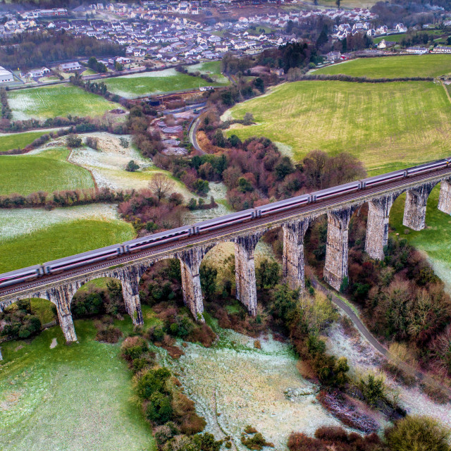 """aerial view of the 18 arches craigmore viaduct Co armagh northern ireland"" stock image"