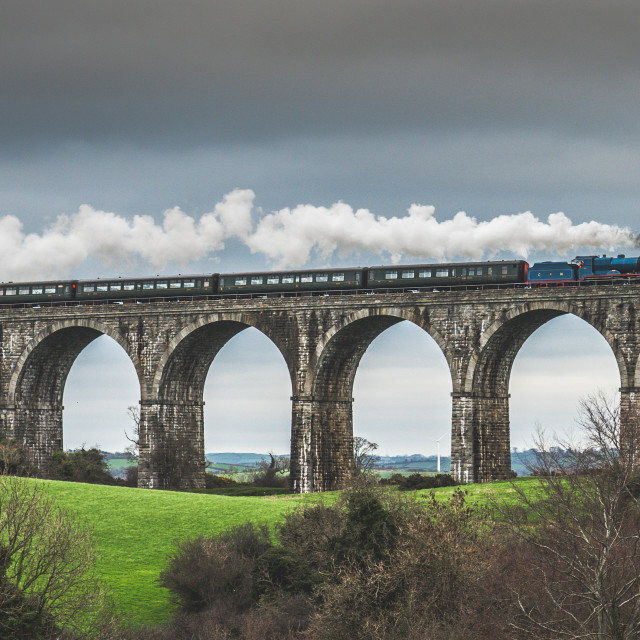 """view of a steam train going over the 18 arches craigmore viaduct Co armagh northern ireland"" stock image"