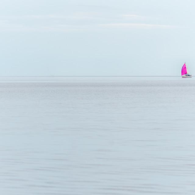 """""""Sailing Boat on Calm Sea"""" stock image"""