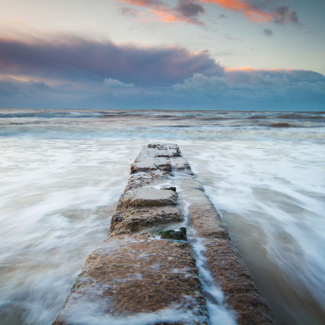 """""""Sunrise Jetty out to sea"""" stock image"""