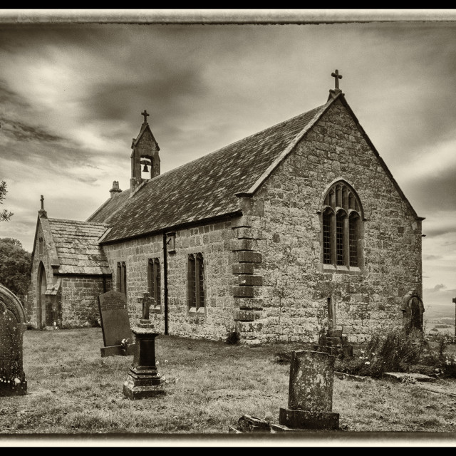 """St Oswald's Church, Chollerton"" stock image"