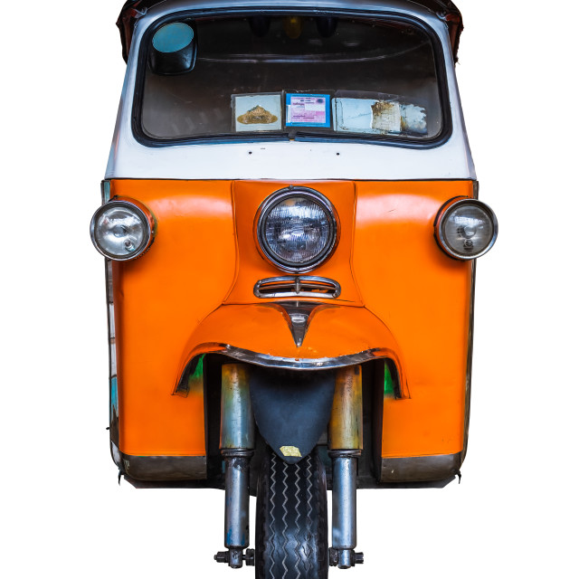 """Isolated Grungy Thai Tuk-Tuk Taxi"" stock image"