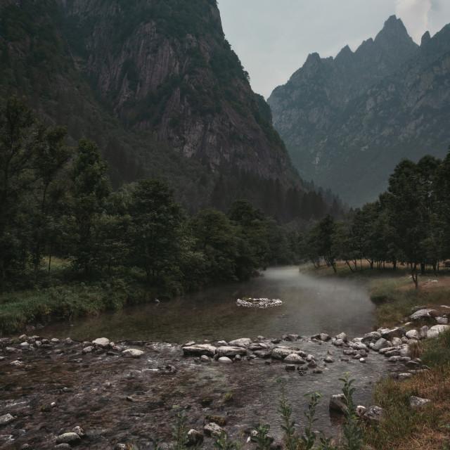 """""""River in Val Masino"""" stock image"""