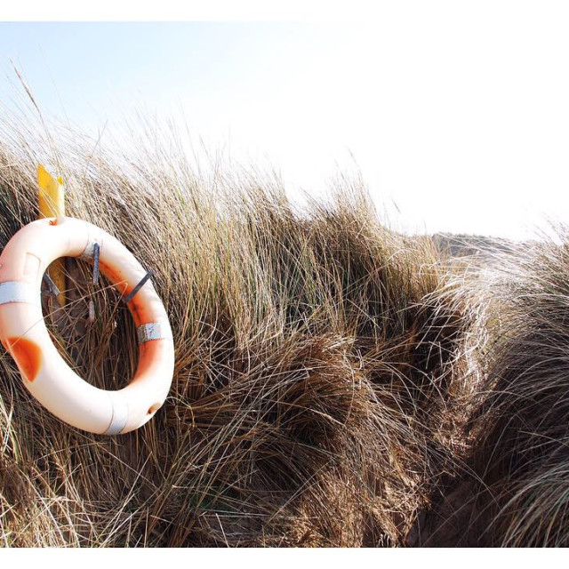 """Life ring in sea grass"" stock image"