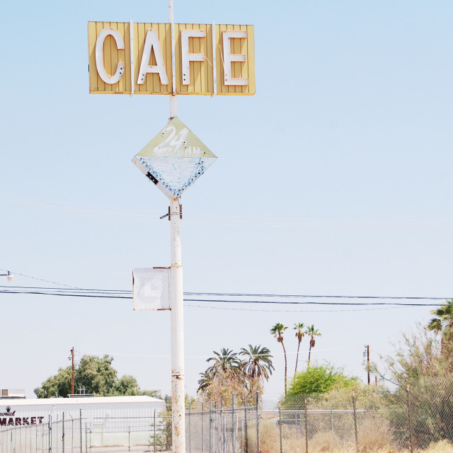 """Abandoned cafe sign dalton sea"" stock image"