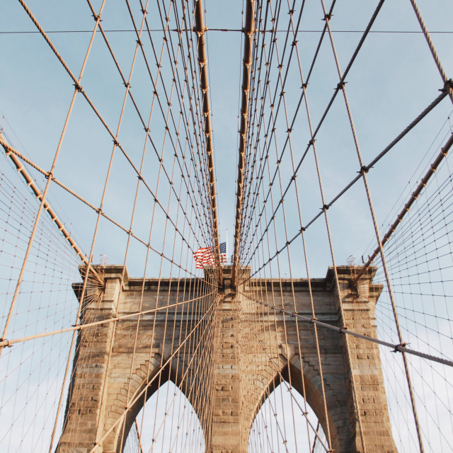 """Look up Brooklyn bridge"" stock image"