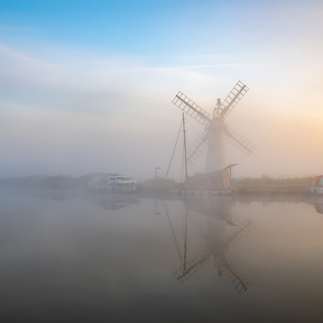 """""""Morning mist at Thurne mill"""" stock image"""