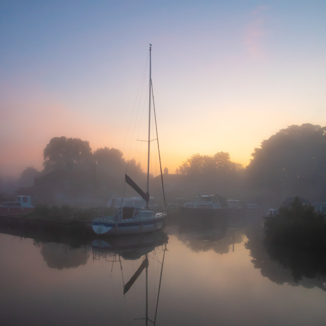 """""""Dawn at Thurne dyke"""" stock image"""